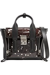 3.1 Phillip Lim The Pashli Mini Floral Print Patent And Matte Leather Shoulder Bag Black