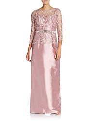 Teri Jon By Rickie Freeman Beaded Lace Top Column Gown Pink