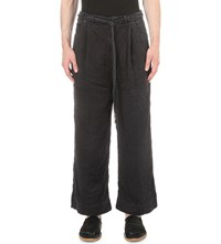Craig Green Belted Flared Silk Trousers Black