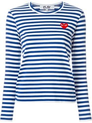 Comme Des Gara Ons Play Striped T Shirt Blue