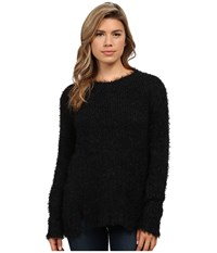 Calvin Klein Jeans Long Sleeve Eyelash Crew Neck Black Women's Sweater