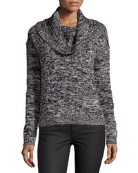 Chelsea And Theodore Cowl Neck Marled Sweater Black Marl