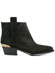 Buttero Contrast Panel Ankle Boots Black
