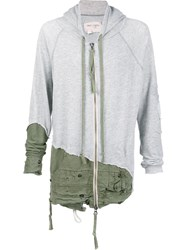 Greg Lauren Zipped Hoodie Green