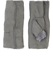Barneys New York Shearling Fingerless Gloves Grey