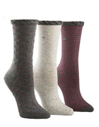 Calvin Klein Three Pack Dot And Striped Crew Socks Assorted Grey