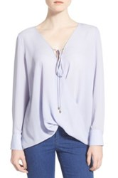 Wayf Wrap Front Long Sleeve Blouse Blue