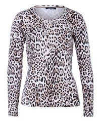 Olsen Animal Print T Shirt Beige