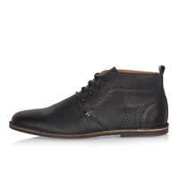 River Island Mens Navy Embossed Leather Desert Boots