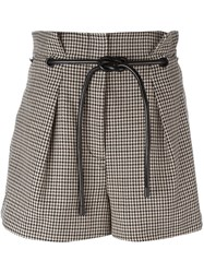 3.1 Phillip Lim Origami Pleat Houndstooth Shorts Brown