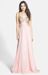 Faviana Sequin Chiffon A Line Gown Petal Pink Gold