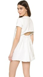 J.O.A. Frayed Denim Mini Dress White