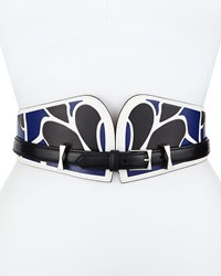 Alexander Mcqueen Bustino Floral Print Leather Belt White Black
