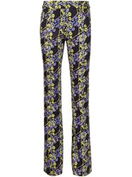 Giamba Graphic Floral Print Trousers Black