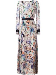 Giorgio Armani Pleated Floral Paint Dress Beige