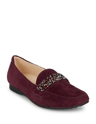 Karl Lagerfeld Quincey Embellished Suede Loafers Red