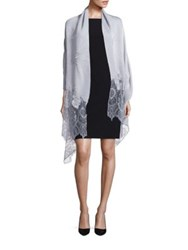Valentino Wool Silk And Cashmere Blend Lace Shawl Light Grey