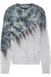 Raquel Allegra Distressed Tie Dyed Merino Wool And Cashmere Blend Sweater Blue
