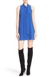 Alice Olivia Women's 'Cassidy' Tie Neck Silk Crepe Shift Dress Cobalt