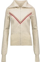 Isabel Marant Achille Striped Wool Blend Cardigan Ecru
