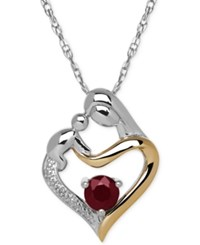 Macy's Ruby 2 3 Ct. T.W. And Diamond Accent Mother And Child Pendant Necklace In Sterling Silver And 14K Gold