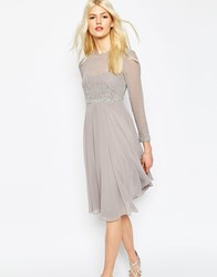 Asos Delicate Scattered Embellished Soft Midi Skater Dress Gray