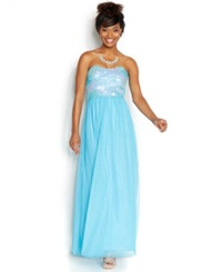 As U Wish Juniors' Strapless Sequin Gown Turquoise