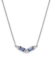 Dana Rebecca Designs 14K White Gold Kristen Kylie Necklace With Light Blue Sapphire And Diamonds 16 Blue White
