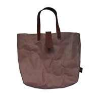 3 Wind Knots Paper Look Tote Bag With Clasp Brown Brown Clasp