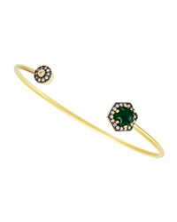 Freida Rothman Belargo Geometric Green Agate And Cz Bangle