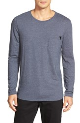 Men's Hugo Regular Fit Long Sleeve Crewneck T Shirt Navy