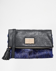 Lipsy Faux Fur Foldover Clutch Bag Multi