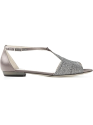Giorgio Armani Wide Metallic Strap Sandals