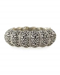 Konstantino Wide Filigree Bangle Bracelet Silver
