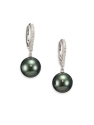 Mikimoto 10Mm Black Round Cultured South Sea Pearl Diamond And 18K White Gold Drop Earrings Black Pearl