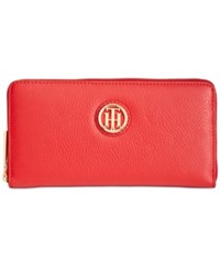 Tommy Hilfiger Lucky Charm Large Pebble Leather Zip Around Wallet Racing Red