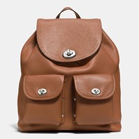 Coach Turnlock Rucksack In Polished Pebble Leather Silver Saddle