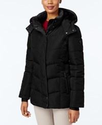 Calvin Klein Fleece Lined Hooded Puffer Coat Black