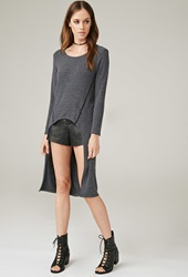 Forever 21 Marina T. Dropped Hem Top Charcoal