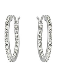 Swarovski Somerset Rhodium Plated Hoop Earrings Silver