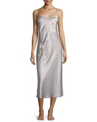 Natori Dawn Floral Satin Gown Smoked Pearl Size Xx Large