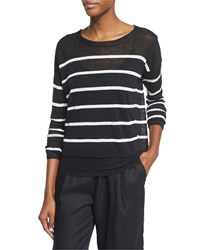 Eileen Fisher Long Sleeve Striped Linen Crop Top Black White