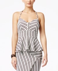 Material Girl Juniors' Striped Peplum Top Only At Macy's