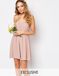 Tfnc Wedding Bandeau Chiffon Mini Dress Pale Mauve