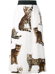 Dolce And Gabbana Cat Print A Line Skirt Nude And Neutrals