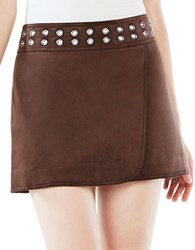 Bcbgmaxazria Dorthy Grommeted Faux Suede Mini Skirt Mahogany