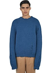 J.W.Anderson Thick Laddered Knit Sweater Blue