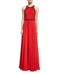 Jenny Packham Halter Neck Embellished Trim Gown Russian Red