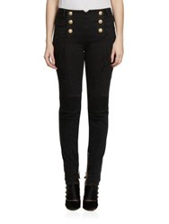 Balmain High Waist Distressed Moto Skinny Jeans White Black
