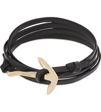 Miansai Anchor Gold Plated Leather Wrap Bracelet Black